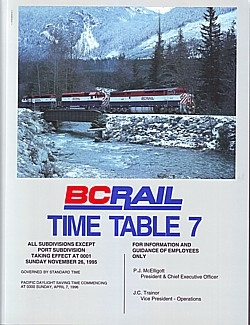 BC Rail Time Table 7, 1995