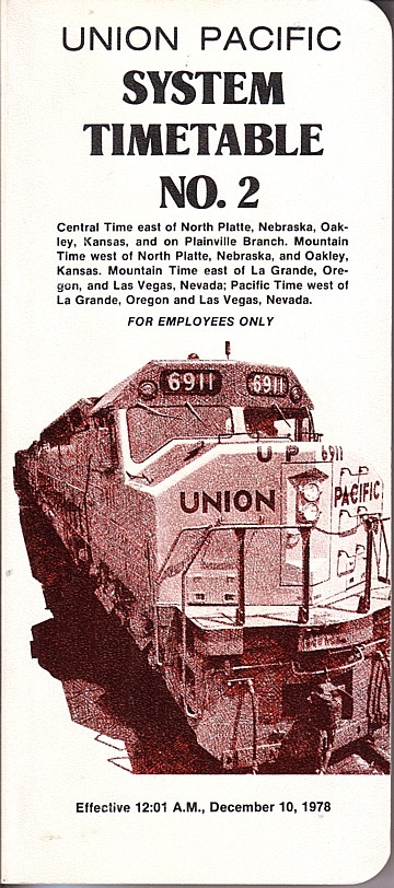 Union Pacirfic System Timetable No 2, 1978